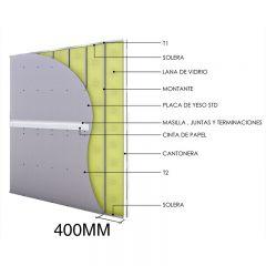 Tabique no portante de construcción en seco interior con placa de yeso
