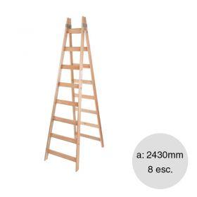 Escalera pintor madera reforzada 8 escalones altura 2430mm