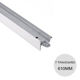 Perfil cielorraso desmontable galvanizado T travesaño blanco 24mm x 28mm x 610mm