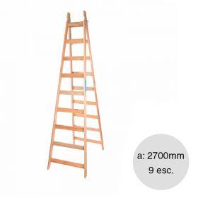 Escalera pintor madera reforzada 9 escalones altura 2700mm