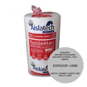 Aislante espuma polietileno Aislatech Fusion + TACC con film aluminio puro simple 10mm x 1000mm x 20m rollo x 20m²