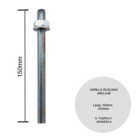 ANCLAJE VARILLA ROSCADA GALV 1/2 C/TUERCA Y ARANDELA 150MM
