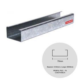 Perfil steel framing PGC 70 galvanizado con punch 0.94mm x 70mm x 6000mm