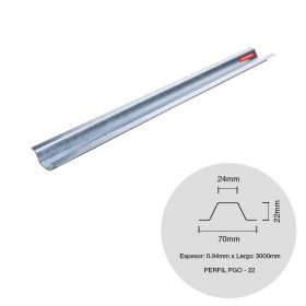 Perfil steel framing PGO 22 galvanizado 0.94mm x 22mm x 3000mm