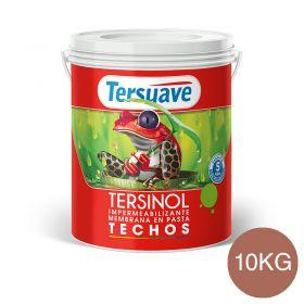 Membrana en pasta impermeabilizante Tersinol techos con poliuretano proteccion UV rojo teja semi mate balde x 10kg