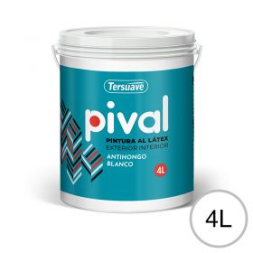 Pintura latex acrilico Pival interior/exterior blanco mate balde x 4l