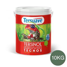 Membrana en pasta impermeabilizante Tersinol techos con poliuretano proteccion UV verde foresta semi mate balde x 10kg