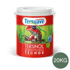 Membrana en pasta impermeabilizante Tersinol techos con poliuretano proteccion UV verde foresta semi mate balde x 20kg
