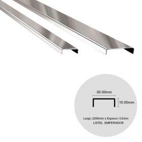 Listel pared acero inoxidable emperador brillante 0.5mm x 10mm x 30mm x 2200mm