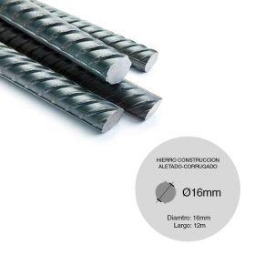 Barra hierro construccion aletado ø16mm x 12m