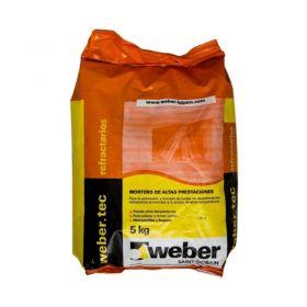 Pegamento ladrillos/tejuelas refractarios Weber Refractario gris amarronado bolsa x 5kg