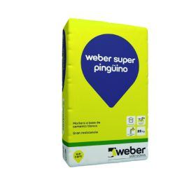 Mortero cemento blanco Weber Super Pingüino bolsa x 25kg