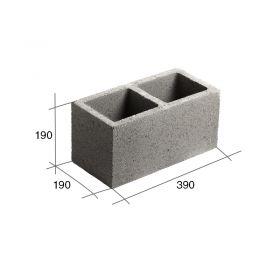 Bloque P20 Portante hormigon gris 190mm x 190mm x 390mm