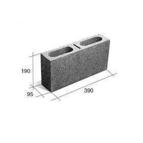 Bloque T10 Tabique hormigon gris 95mm x 190mm x 390mm