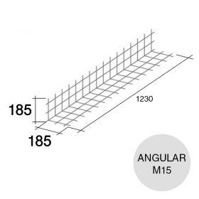 Malla acero refuerzo angular Concrehaus M15 185mm x 185mm x 1230mm