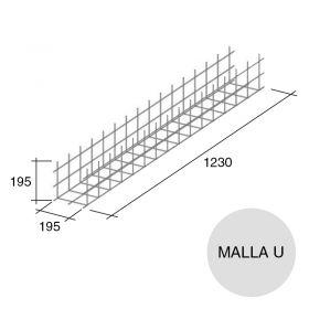 Malla acero U refuerzo Concrehaus 08/12 195mm x 195mm x 1230mm