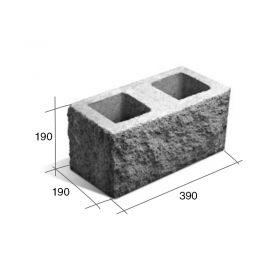 Bloque SP20/esq esquinero hormigon simil piedra gris 190mm x 190mm x 390mm