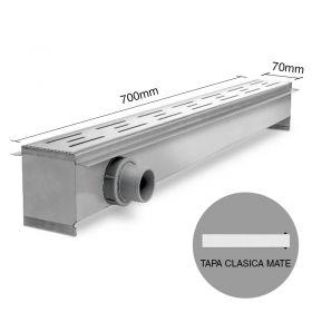 Rejilla desagüe lineal ducha 70 acero inoxidable tapa clasico mate 8.5mm x 70mm x 700mm