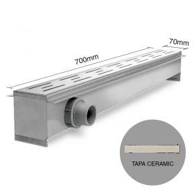 Rejilla desagüe lineal ducha 70 acero inoxidable tapa ceramic 8.5mm x 70mm x 700mm