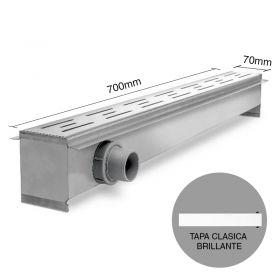 Rejilla desagüe lineal ducha 70 acero inoxidable tapa clasico brillante 8.5mm x 70mm x 700mm
