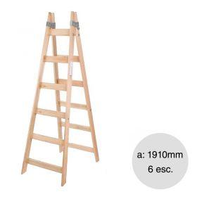 Escalera pintor madera reforzada 6 escalones altura 1910mm