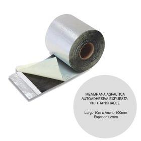 Membrana asfaltica reparaciones Clipperflex autoadhesiva expuesta no transitable rollo 1.2mm x 100mm x 10m