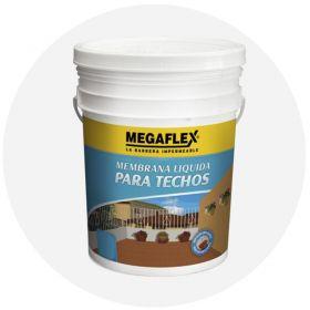 Membrana liquida impermeabilizante acrilica Megaflex techos fibrado expuesta transitable blanco balde x 20kg