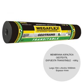 Membrana asfaltica geotextil Geotrans expuesta transitable 40kg x 4mm x 1000mm x 10m rollo x 10m²