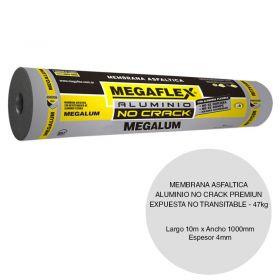 Membrana asfaltica aluminio no crack Megalum premium expuesta no transitable 47kg x 4mm x 1000mm x 10m rollo x 10m²