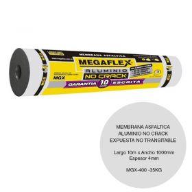 Membrana asfaltica aluminio no crack MGX-400 expuesta no transitable 35kg x 4mm x 1000mm x 10m rollo x 10m²