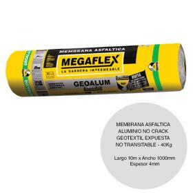 Membrana asfaltica aluminio no crack geotextil Geoalum expuesta no transitable 40kg x 4mm x 1000mm x 10m rollo x 10m²