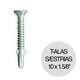 "Tornillo autoperforante con alas sin estrias 10 x 1.5/8"" pack x 100u"