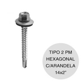"Tornillo autoperforante hexagonal Tipo 2 punta mecha con arandela 14 x 2"" x 100u"